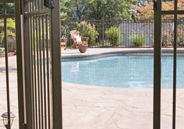 iron gate by pool